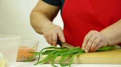 Female Chopping Food Ingredients Stock Footage