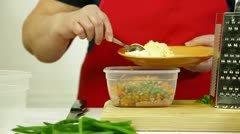 Cooking salad - grated cheese Stock Footage