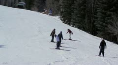 Beggining Skiers Practicing Stock Footage