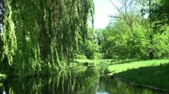 Summer landscape of Europe with small river Stock Footage