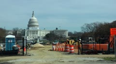 National Mall renovation, Capitol bg Stock Footage