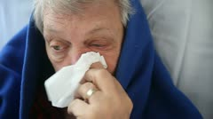 man with flu - stock footage