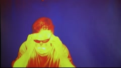 Infrared radiation thermal imaging camera of a man Stock Footage