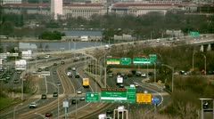 Traffic & Washington Monument Stock Footage