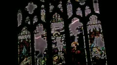 Stained Glass Church Lightning Stock Footage