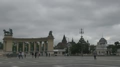 """""""Heroes' Square"""" with the Millennium Memorial, Budapest, Hungary Stock Footage"""