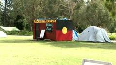 Tent as Aboriginal embassy  in Australia Stock Footage
