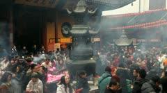 Jade Buddha Temple, Shanghai, China Stock Footage