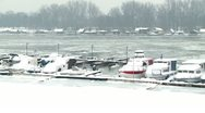 Boats traped in ice 2 Stock Footage