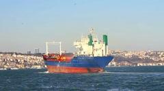 Cargo ship sailing through Straits Stock Footage