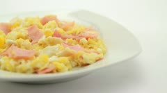 Scrambled eggs with ham Stock Footage