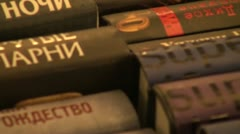 A shelf with books Stock Footage