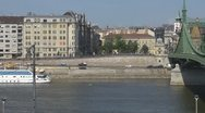 Stock Video Footage of Panoramic view of Liberty Bridge, Budapest, Hungary