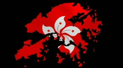 Hong Kong map with rippling flag animation Stock Footage