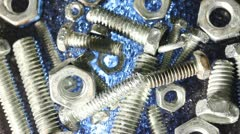 Bolts with nuts Stock Footage