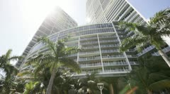 Modern Miami Buildings and palms Stock Footage