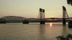 Sunset Over Columbia Crossing Interstate Bridge 1080p Timelapse Stock Footage