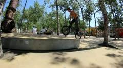 BMX biker amazing street line in BARCELONA Stock Footage