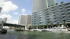 Pan video of the Epic Waterfront condo in Downtown Miami Stock Footage