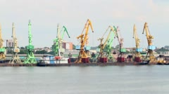 Working cranes at port, tilt-shift Stock Footage
