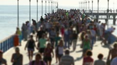 crowded pier, tilt-shift - stock footage
