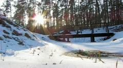 Winter Forest and the sun, timelapse Stock Footage