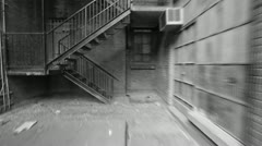 Fire escape. Timelapse. Black and white. - stock footage