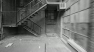 Stock Video Footage of Fire escape. Timelapse. Black and white.