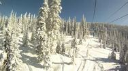 Stock Video Footage of Riding a Ski Resort Chairlift in Sunshine