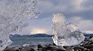 Stock Video Footage of Twin Ice of Mystery over Bay and Mountains