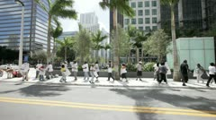 Group of protestors at Brickell Miami Stock Footage