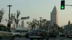 Waitan, The Bund. Traffic on the Street Stock Footage
