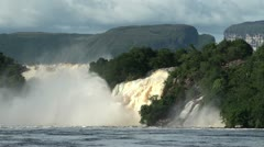 Powerful waterfalls in Canaima lagoon. Venezuela. - stock footage