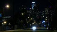 Stock Video Footage of Night Traffic Timelapse 20 Loop Los Angeles Skyscrapers