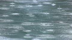 Rain on water surface Stock Footage