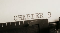 CHAPTER 9 to 10. Writing of the book on typewriter. Stock Footage
