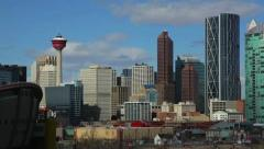 Downtown Calgary from Scotsman's Hill - stock footage