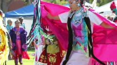 Pow Wow Fancy Shawl Dancing - stock footage