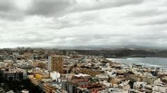 Las Palmas de Gran Canaria city skyline aerial, looking South west timelapse HD Stock Footage