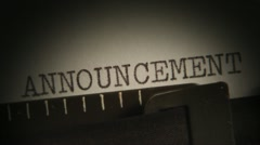 Written on a typewriter. ANNOUNCEMENT. LOREM IPSUM.  - stock footage
