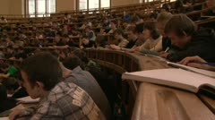 Students at a lecture in the classroom. - stock footage