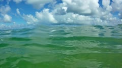 Waves in open sea and blue sky with clouds - stock footage