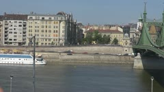 Timelapse Panoramic view of Liberty Bridge, Budapest, Hungary Stock Footage