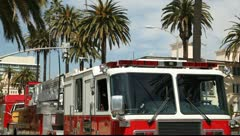 Fire department emergency response truck at car accident crash collision site LA Stock Footage