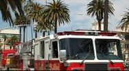 Fire truck in Santa Monica - close up Stock Footage