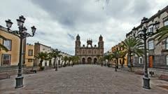 4K+HD Cathedral Santa Ana in Las Palmas de Gran Canaria timelapse Stock Footage