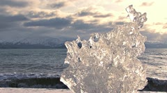 Natural Ice Art in Stormy Afternoon Stock Footage