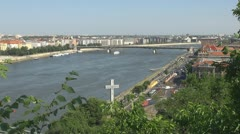 Panoramic view of Budapest and the Danube river, Budapest, Hungary Stock Footage