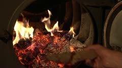Oven with fire Stock Footage