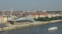 Cultural Centre and boats traffic, Budapest, Hungary Stock Footage